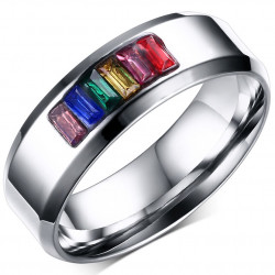 BA0046 BOBIJOO Jewelry Bague Alliance Gay Lesbienne Arc en Ciel Acier Inoxydable Rainbow