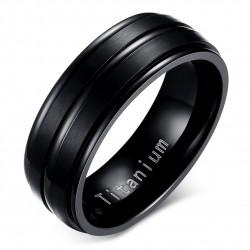 BA0055 BOBIJOO Jewelry Anillo Alianza de Titanio Grabado en Negro Mate y Brillante