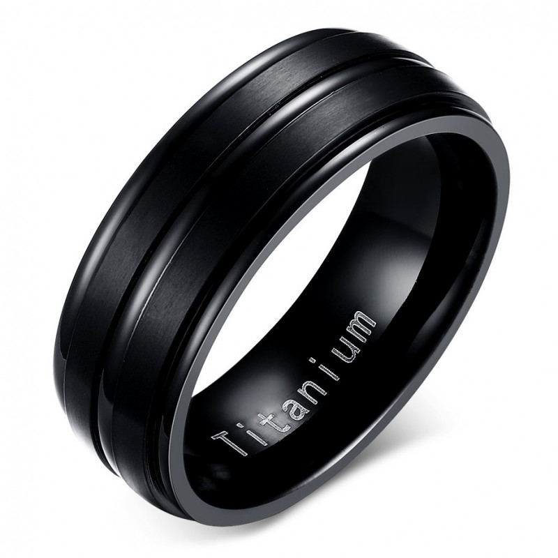 BA0055 BOBIJOO Jewelry Ring Alliance Titanium Engraved Black Matte and Shiny