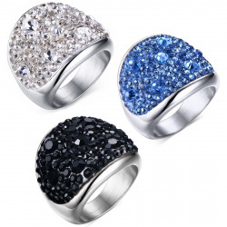 BAF0010 BOBIJOO Jewelry Acero inoxidable Crystal Ring 3 colores en la elección