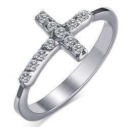 BAF0011 BOBIJOO Jewelry Anillo de circonio de latón cruzado de acero inoxidable
