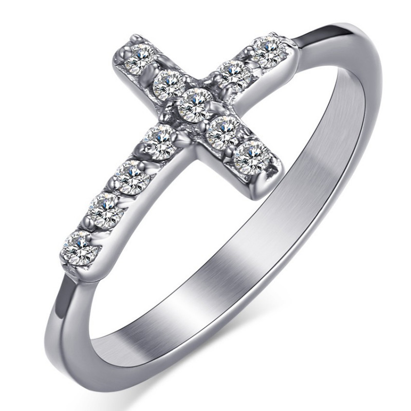 BAF0011 BOBIJOO Jewelry Latin Cross Zirconium Ring Stainless Steel