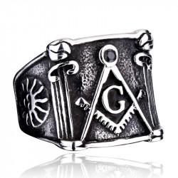 BA0057 BOBIJOO Jewelry Ring Siegelring Masonic Freimaurer Winkel Zirkel Sonne Edelstahl