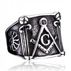 BA0057 BOBIJOO Jewelry Ring Signet Masonic Frank Mason Bracket Compass Sun Stainless Steel