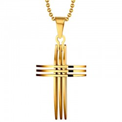 PE0017 BOBIJOO Jewelry Necklace Cross Pendant, Gold