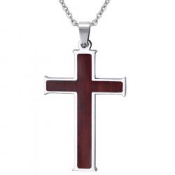 PE0022 BOBIJOO Jewelry Collier Pendentif Croix Incrusté de Bois Acier Inoxydable