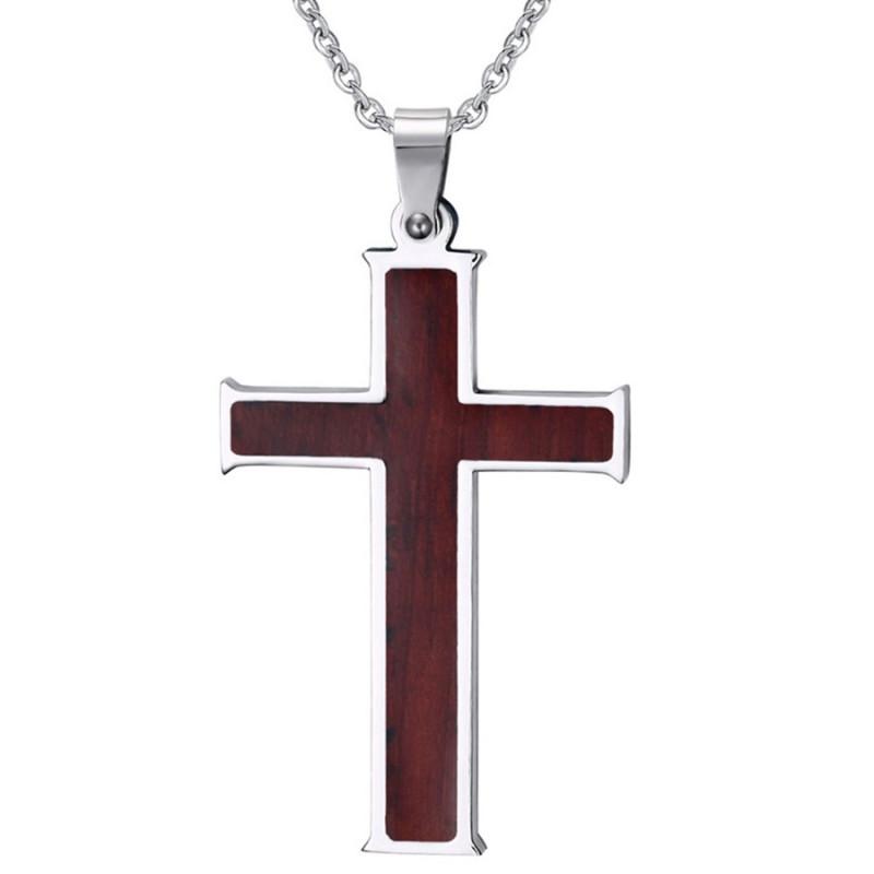PE0022 BOBIJOO Jewelry Necklace Cross Pendant Inlaid with Wood Stainless Steel