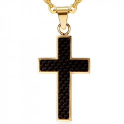 PE0026 BOBIJOO Jewelry Necklace Pendant Cross, Gold and Carbon Fiber