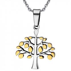 PE0023 BOBIJOO Jewelry Collana Ciondolo Albero della Vita Dorato con Oro Misto Uomo Donna