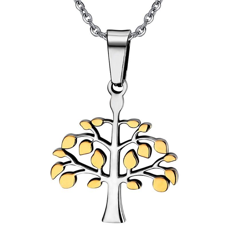 PE0023 BOBIJOO Jewelry Collier Pendentif Arbre de Vie Doré à l'Or Fin Mixte Femme Homme