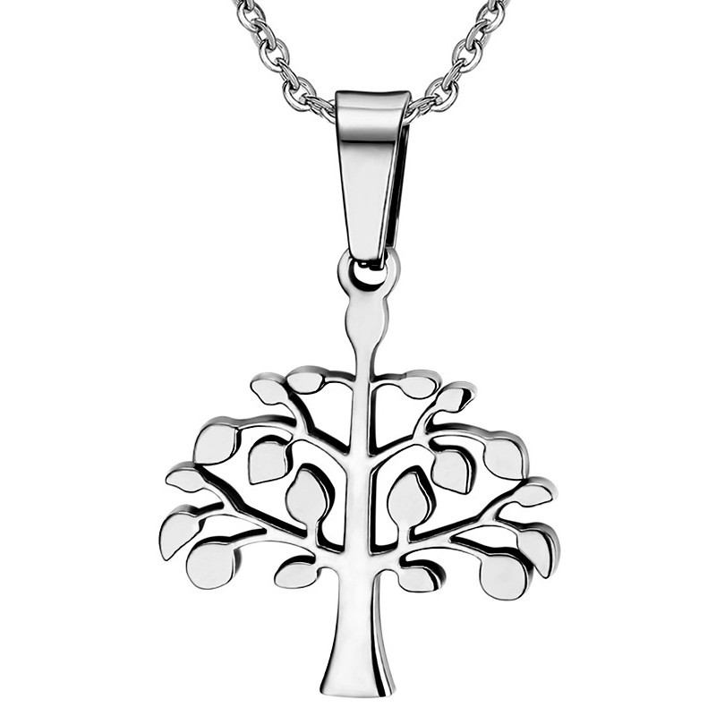 PE0024 BOBIJOO Jewelry Necklace Pendant Tree of Life Stainless Steel Joint Female Male