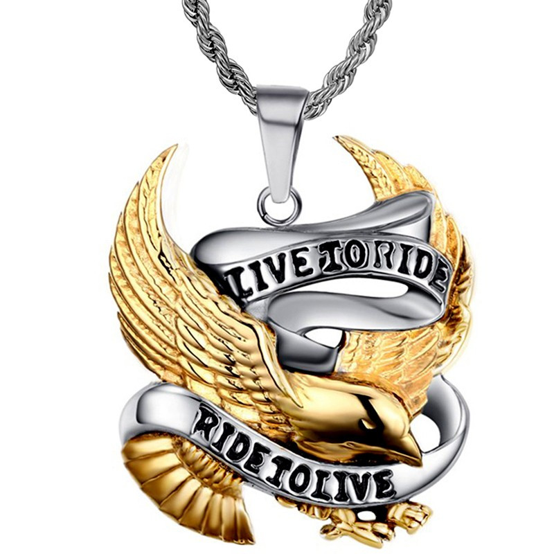 """PE0019 BOBIJOO Jewelry Chain Pendant """" Live To Ride Eagle Stainless Steel Chain Available"""