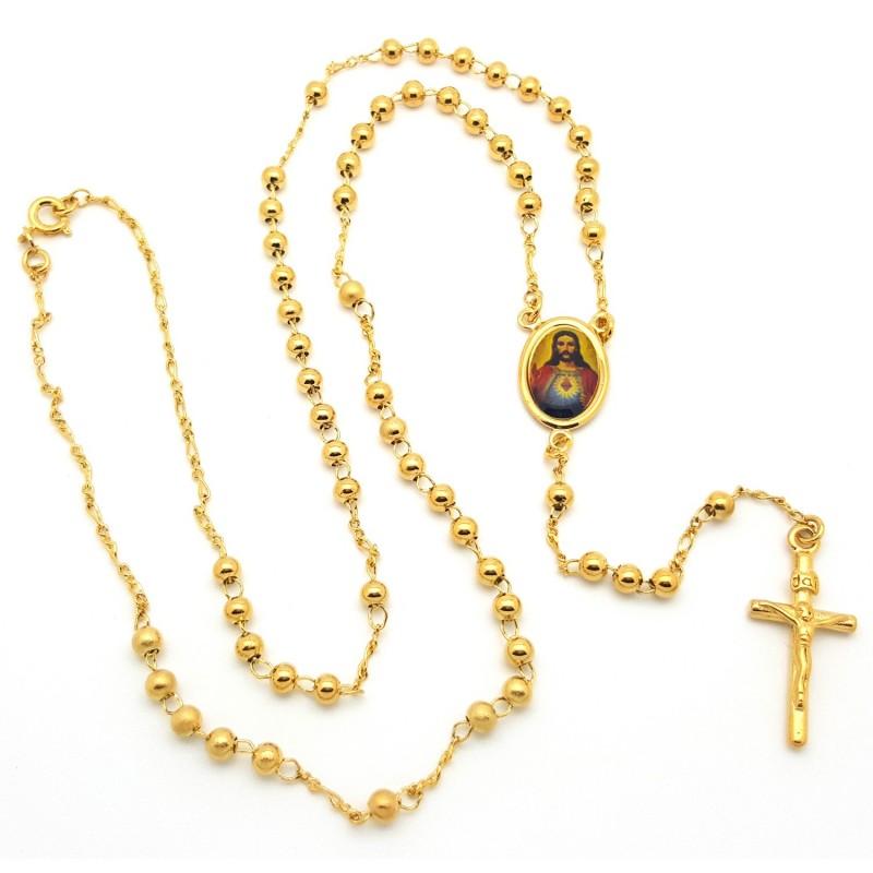 CP0026 BOBIJOO Jewelry Rosary, Gold Jesus
