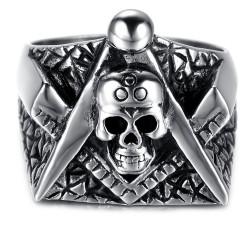 Bague Chevalière Tête de Mort Masonic Franc Maçon Equerre Compas