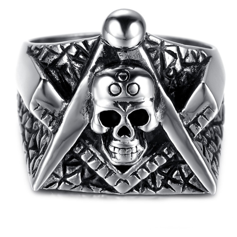 BA0058 BOBIJOO Jewelry Ring Signet ring, skull Masonic Frank Mason Bracket Compass