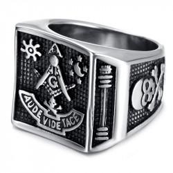 BA0059 BOBIJOO Jewelry Ring Siegelring Aude Leer Tace schädel Masonic Freimaurer