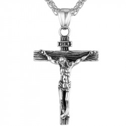 PE0028 BOBIJOO Jewelry Chain Pendant Christ Cross Stainless Steel