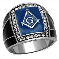 Bague Chevalière Masonic Franc Maçon Email Bleu Noir Acier Inoxydable