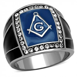 BA0062 BOBIJOO Jewelry Ring Signet Masonic Frank Mason Blue Email Black Stainless Steel