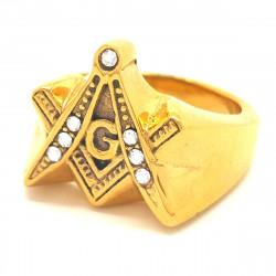 BA0065 BOBIJOO Jewelry Bague Chevalière Masonic Franc Maçon Acier Inoxydable Doré Strass