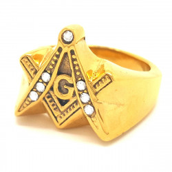 BA0065 BOBIJOO Jewelry Ring Signet Masonic Frank Mason Stainless Steel Golden Rhinestone