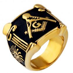 BA0067 BOBIJOO Jewelry Ring Siegelring Masonic Freimaurer Gold-und Schwarz-Edelstahl