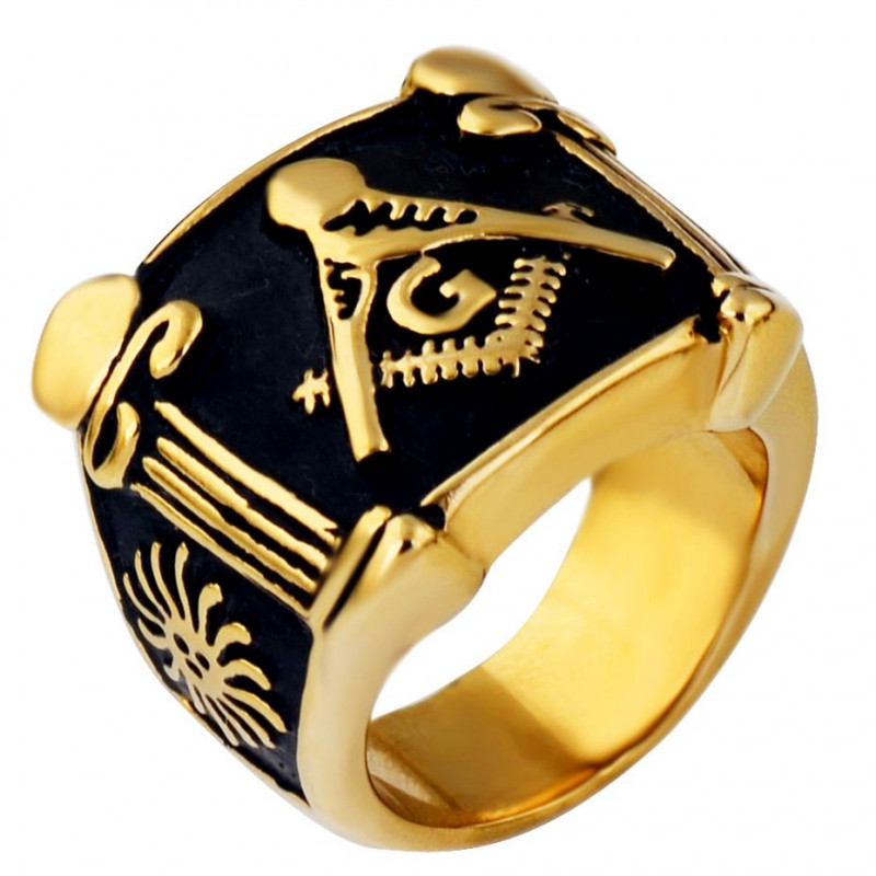 BA0067 BOBIJOO Jewelry Bague Chevalière Masonic Franc Maçon Or et Noir Acier Inoxydable