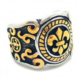 BA0066 BOBIJOO Jewelry Ring Siegelring Fleur de Lys Gold, Schwarz und Edelstahl
