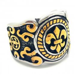 BA0066 BOBIJOO Jewelry Ring Signet ring Fleur-de-Lis Gold and Black Stainless Steel