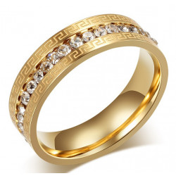 AL0046 BOBIJOO Jewelry Alliance Original Engraving Ring Rhinestone Gold-plated finish