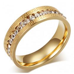 AL0046 BOBIJOO Jewelry La alianza Original Grabado Anillo de diamantes de imitación de Oro-plateado acabado