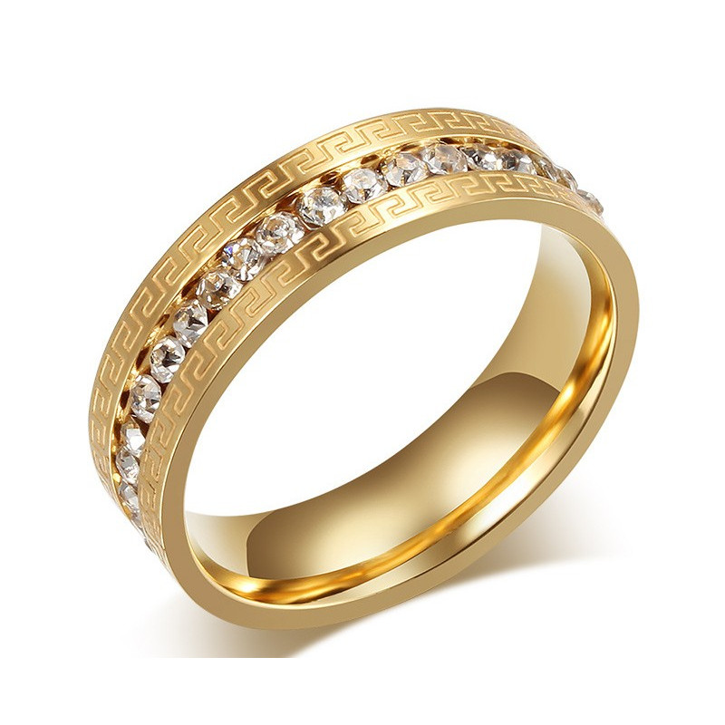 AL0046 BOBIJOO Jewelry Alliance Originale Gravure Bague Strass Doré à l'Or Fin