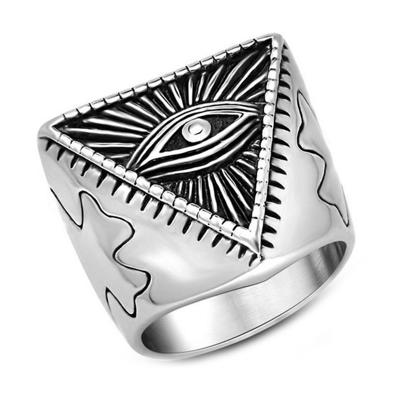 BA0069 BOBIJOO Jewelry Ring, Illuminati Pyramid Eye Stainless Steel