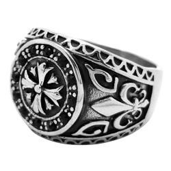 BA0072 BOBIJOO Jewelry Anillo de Signet Cruz Templaria Fleur-de-Lys