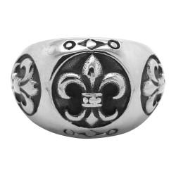BA0076 BOBIJOO Jewelry Ring Siegelring Fleur de Lys Edelstahl