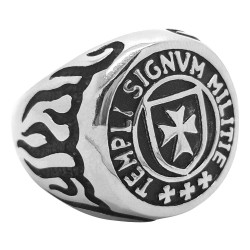 BA0074 BOBIJOO Jewelry Ring Siegelring Kreuz der Tempelritter Templi Signum Militie