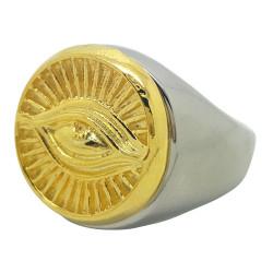 BA0079 BOBIJOO Jewelry Anillo sortija de Sello de los Illuminati Ojo de Plata y oro