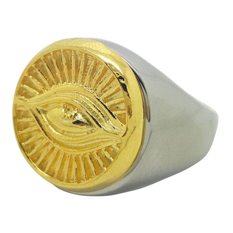BA0079 BOBIJOO Jewelry Bague Chevalière Illuminati Oeil Doré et Argenté