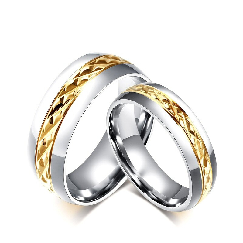 AL0003 BOBIJOO Jewelry Alianza De Acero, Plata, Oro Facetas