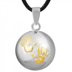 GR0010 BOBIJOO Jewelry Colgante del collar de la Bola Musical de Embarazo Manos del bebé Chapado en Oro