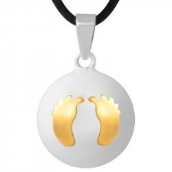 GR0011 BOBIJOO Jewelry Collana Ciondolo Bola Musicale Gravidanza i Piedi del bambino in Oro Placcato