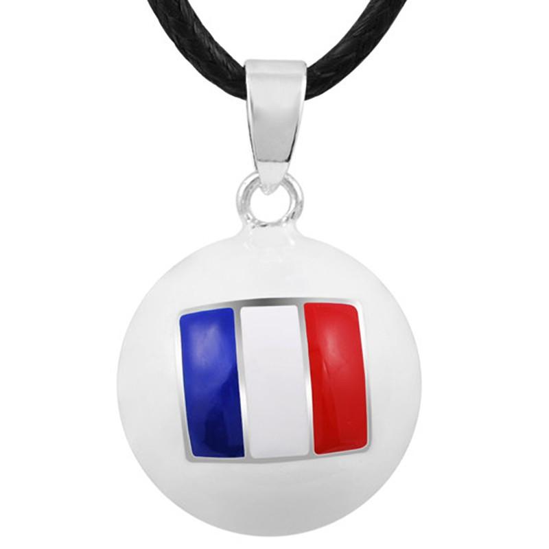 GR0015 BOBIJOO Jewelry Collier Pendentif Bola Musical Grossesse Drapeau Bleu Blanc Rouge