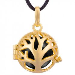 GR0014 BOBIJOO Jewelry Halskette Anhänger Bola Käfig Musikalischen Baum des Lebens, Vergoldet, Gold
