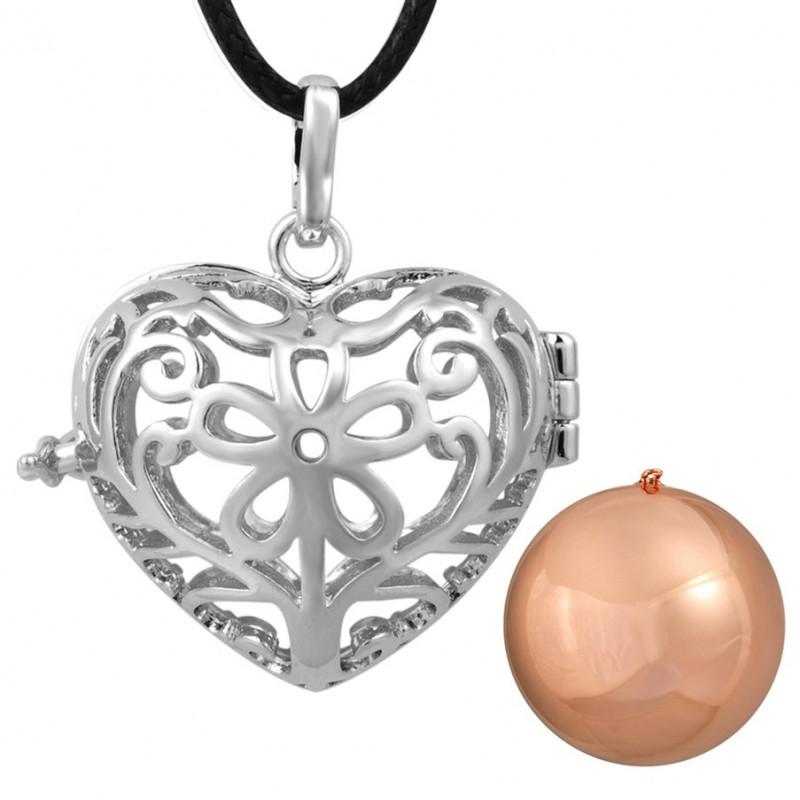 GR0016 BOBIJOO Jewelry Collier Pendentif Bola Cage Musical Coeur Argenté