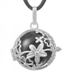 GR0017 BOBIJOO Jewelry Colgante Del Collar De La Bola De La Jaula Musical De La Flor De Plata