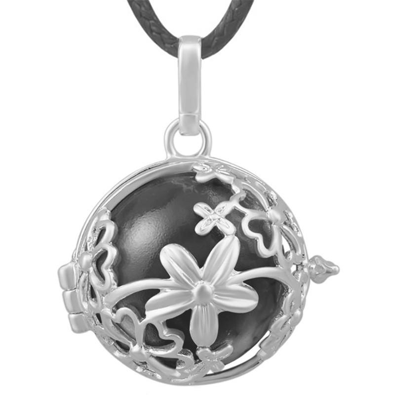 GR0017 BOBIJOO Jewelry Collier Pendentif Bola Cage Musical Fleur Argenté