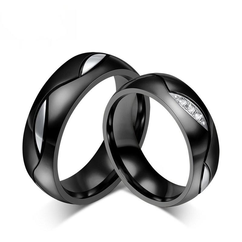 AL0005 BOBIJOO Jewelry Alianza Conjunta Anillo De Titanio Negro De Pedrería
