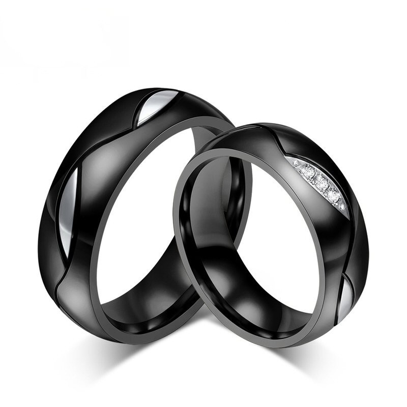 AL0005 BOBIJOO Jewelry Alliance Joint Ring Titanium Black Rhinestones