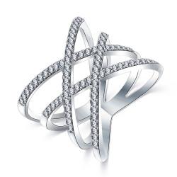 BAF0014 BOBIJOO Jewelry Anillo Diseño Mujer 4 Anillos Strass Plata