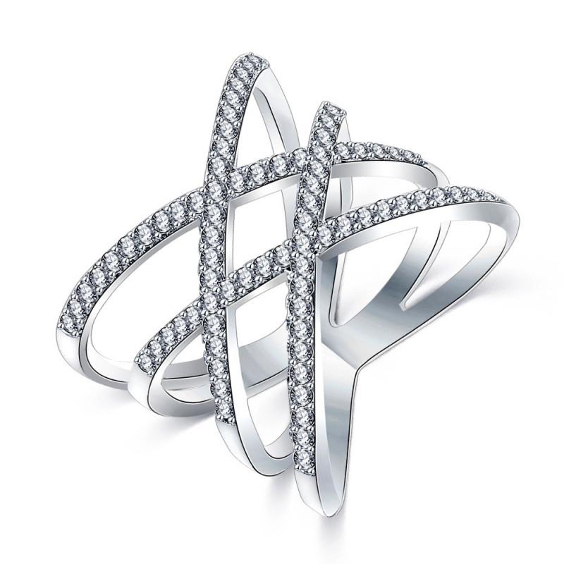 BAF0014 BOBIJOO Jewelry Ring Design Women 4 Rings Rhinestones Silver
